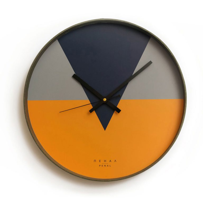 wall clock with geometric design in 3 colors