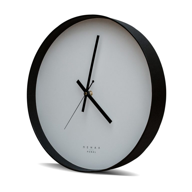 black wall clock front side